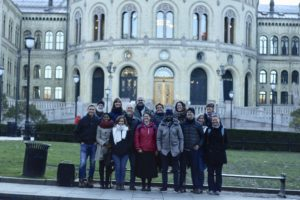 Full Team in front of Norwegian Parliament