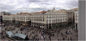 View from On the Red Box prayer room over looking Puerta del Sol: central Madrid